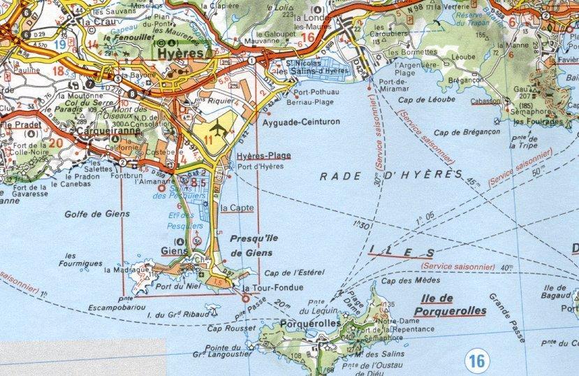 la région de Hyères plan d'accès
