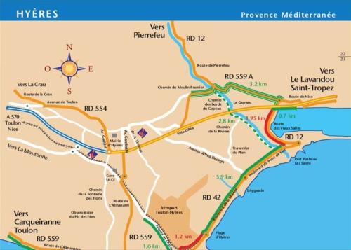 Carte de la piste cyclable aux environs de Hyères.