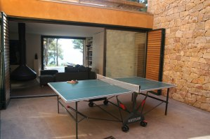 Patio with ping pong table